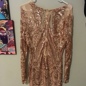 Rose gold sequin dress from fashion nova